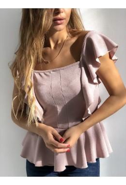 Блуза баска пудровая