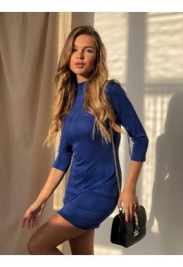 Теплое платье-гольф синего цвета