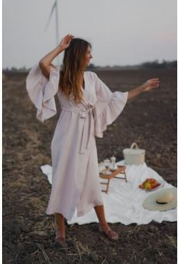 Платье-кардиган из габардина бежевого цвета