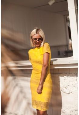 Платье с открытой спиной желтое