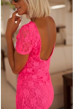Платье с открытой спиной розовое