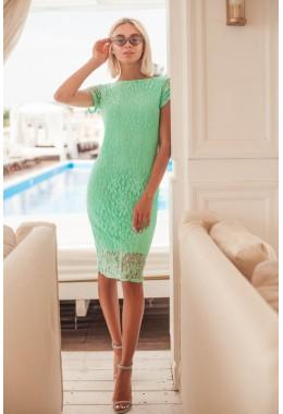 Платье с открытой спиной мятное