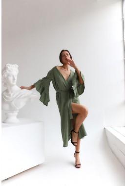 Универсальное платье-кардиган зеленого цвета