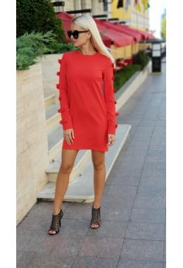 Платье бантики красное