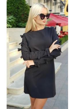 Платье бантики черное
