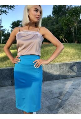 Стильная юбка-карандаш голубая