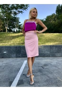 Стильная юбка-карандаш нежно-розовая