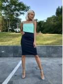 Стильная юбка-карандаш темно-синяя