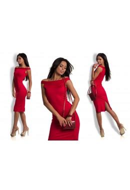 Платье плечи лодочка красное
