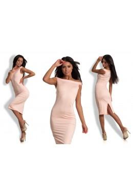 Платье плечи лодочка розовое