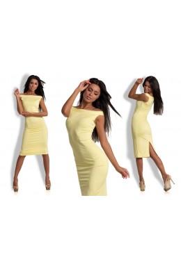 Платье плечи лодочка желтое