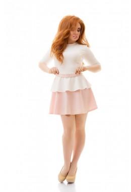 Платье с имитацией пояса персиково-белое
