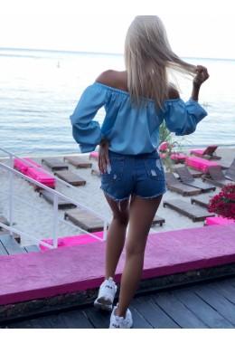 Блуза Однотон голубая
