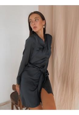 Шелковое платье-рубашка графитовое