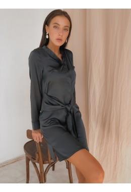 Шелковое платье-рубашка темно-синее