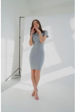Платье футляр с короткими рукавами серое