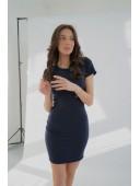 Платье футляр с короткими рукавами темно-синее