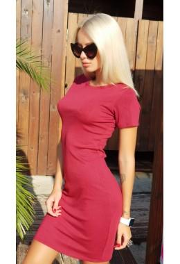 Платье футляр с короткими рукавами бордо