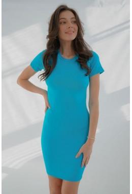 Платье футляр с короткими рукавами бирюзовое
