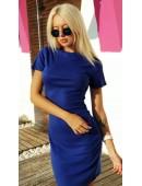 Платье футляр с короткими рукавами цвета электрик