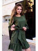 Платье с рюшами цвета хаки