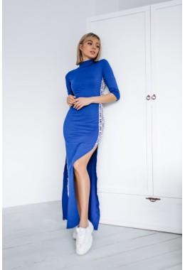 Платье в пол с лампасами цвета электрик