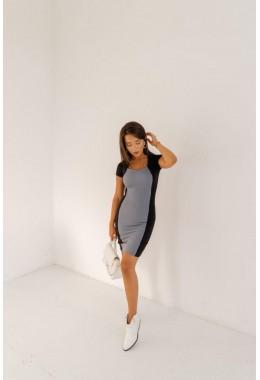 Платье комбинированное серое