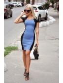 Платье комбинированное синее