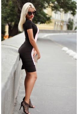 Платье комбинированное пудровое