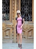 Платье комбинированное темно розовое