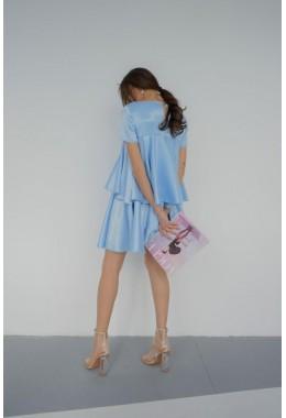 Платье воланами голубое
