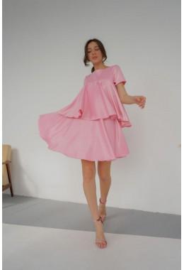 Платье воланами розовое