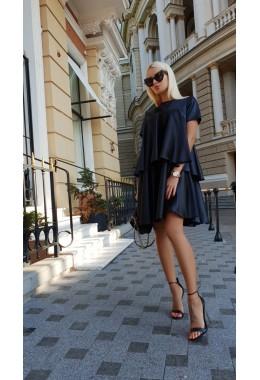 Платье воланами черное