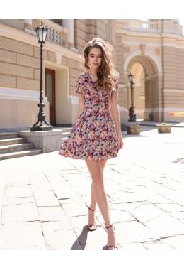 Платье розовое с рюшами в бабочки