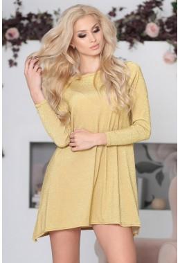 Платье золотое свободного кроя люрексовое