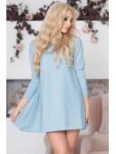 Платье голубое свободного кроя люрексовое