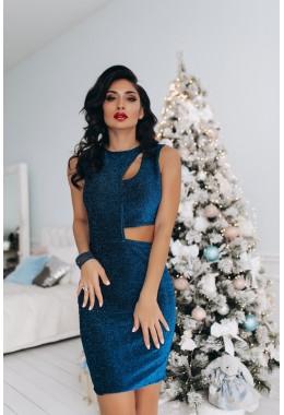 Вечернее платье без рукавов синего цвета