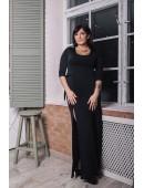 Вечернее черное платье с разрезами