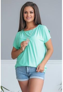 Блузка мятная с коротким рукавом