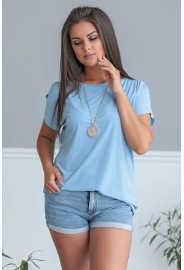 Блузка голубая с коротким рукавом