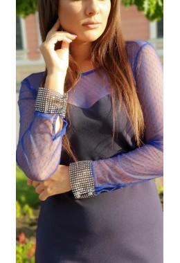 Вечернее платье электрик с манжетом