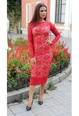 Изящное миди платье красного цвета
