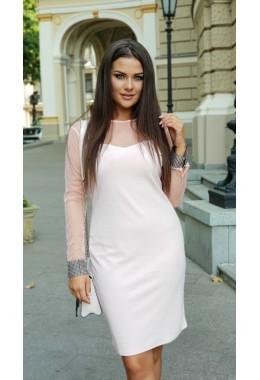 Вечернее платье персиковое с манжетом