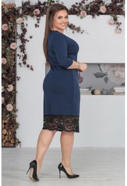 Платье темно-синее с кружевом по низу