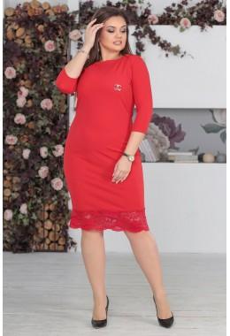 Платье красное с кружевом по низу