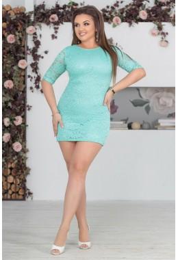 Платье мятное  гипюровое