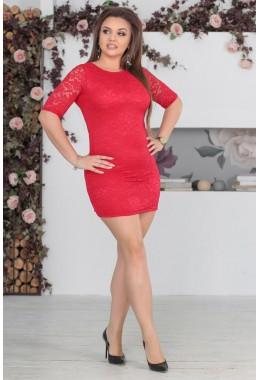 Платье красное гипюровое