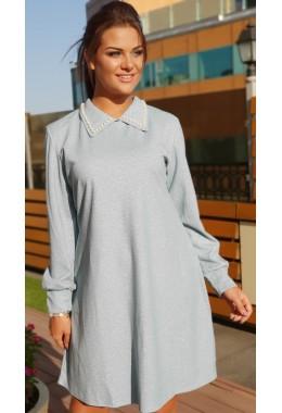 Платье голубое с воротничком