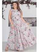 Легкое розовое платье в пол с принтом