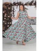 Легкое мятное платье в пол с принтом